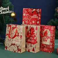 Paper Christmas Gift Bag Candy Cookie Present Wraps Tree Tag Handbag Durable Handles Party Goodie Packaging Bags Box Tote RRB11300
