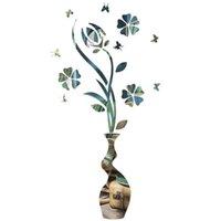 Acrylic Wall Sticker Flower And Vase Mirror Eco-friendly Decals For Bedroom Living Room Bathroom Decorat Clocks