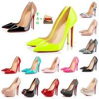 Kadın Kırmızı Alt Yüksek Topuklu Platform Peep-Toes Sandalet Tasarımcı Seksi Sivri Burun Kırmızı Sole 8 cm 10 cm 12 cm Pompalar Luxurys Bayan Gelinlik Ayakkabı Çıplak Siyah Parlak