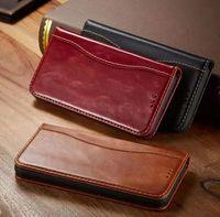 Diseñador de lujo Cajas de teléfono de billetera de billetera de cuero genuino para iPhone 12 11 Pro Promax X XS MAX 7 8 Plus Funda de caja