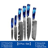 6 teile / set Küchenchefs Messer mit Harz Griff Damaskus Muster Japanisches Fleischkleber Sliping Utility Paring Werkzeuge 3.5 '5' 7 '8