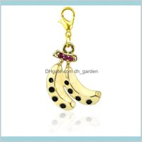 Findings Components Drop Delivery 2021 Fashion Color Plated Lobster Clasp Dangle Enamel Double Banana Fruit Diy Charms For Jewelry Making Acc