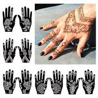 Sticker 12pcs Henna Stencil Templates Indian Arabian Self Adhesive Temporary Tattoo Accessories Kit Hand Body Paint