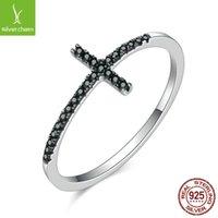 BAMOER Popular 925 Sterling Silver Faith Cross Shape Finger Rings for Women ,Black Clear CZ Sterling Silver Jewelry Gift SCR067 2013 Q2