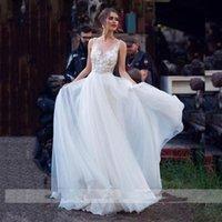 Summer Boho Long Wedding Dresses Bridal Gowns Sexy Backless Straps Tulle Lace Vestido De Novia A Line Bride Dress