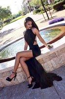 섹시한 블랙 고삐 인어 댄스 파티 드레스 긴 레이스 장식 조각 페르시 백리스 사이드 슬릿 이브닝 드레스 공식 파티 재배