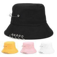 Fashion Street Solid Color Iron Pin Rings Personality Bucket Hat Stingy Brim Cap Cotton Fishermen Caps For Unisex Women Men