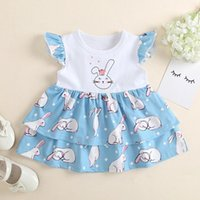Easter Baby Kids Girl Clothes Sleeveless Cute Cartoon Print Ruffle Dress For Girls Children's Clothing Sets