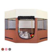 Твердый древесный кронштейн восьмиугольный питоместный забор Оксфорд ткань водонепроницаемый кошка средняя собака домика домика производства комнат кровать щенок кошек диван питомники ручки