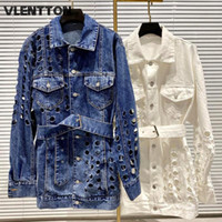 Women's Jackets Spring Autumn Women Streetwear With Sashes Hole Denim Solid Casual Loose Jeans Coat Female Outwear Long Cowboy Tops