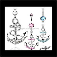 Bell D0438 The Anchor Style Botton Anillos MEZCLA COLORES NAVE NAVE ANILLO Piercing Body Jewelry Taavs 6B1IE