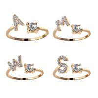 A-Z إلكتروني لون الذهب المعادن تعديل فتح زوجين حلقات الاولى الاسم الأبجدية الإناث الإبداعية إصبع حزب العصرية مجوهرات