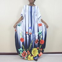 African Dresses For Women Spring Autumn Muslim Long Maxi Dress High Quality Fashion Batwing Sleeve Floral Ethnic Clothing