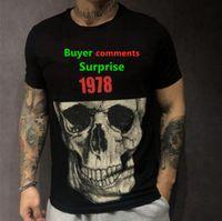 Spring and summer designer men's short sleeve T-shirt skull head diamond half