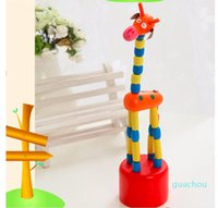 New Colorful Wooden Blocks Rocking Giraffe Toy For Baby Stroller Toddler Kids Educational Dancing Wire Toys Kids Pram Accessories