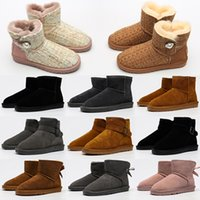 Classic Mini Sapatos Curtos Bailey Bow Botão Alta Bota Wgg Tripleto Austrália Mulheres Mulheres Inverno Botas de Neve Fur Botinhas Peludas Australianas