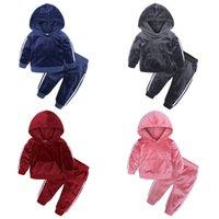 Çocuk Giysileri Erkek Kız Altın Kadife Takım Elbise Bahar Sonbahar Artı Bebek Çocuk Sıcak Kazak Pantolon İki Setleri 0-7years 011001