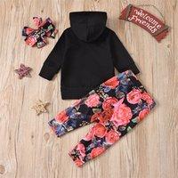 Brief Druck Hoodie Hose Kleidung Sets Bug Hair Band Blumen Baby Kinder Mädchen Kleidung Frühling Herbst kleiden Anzug 26XT N2