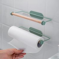 Towel Racks Kitchen Paper Rack Wrought Iron Wall-Mounted Cling Film Free Perforated Roll Storage Accessories Holders