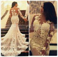 Lace Appliqued Tulle Sexy Long Sleeve Plus Size Wedding Dresses See Through vestido de noiva princesa ombro a ombro