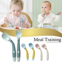 Louça Conjuntos Silicone Spoon para Utensílios de Bebê Set Auxiliar da Criança Aprenda a Comer Treinamento Bendable Fork Fork Infantil Tablewa