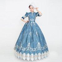 2021 Açık Mavi Noel Partisi Elbiseler Kısa Kollu Nakış Ortaçağ Sahne Gösterisi Elbise Balyavatları Kadınlar Için Vestido