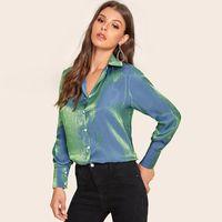 2020 New Shiny Satin Silk Long Sleeve Solid Shirt