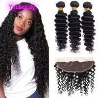 Brazilian Human Hair 4 Bundles With 13*4 Lace Frontals Deep Curly 5PCS Double Wefts 10-30inch Natural Color Free Part