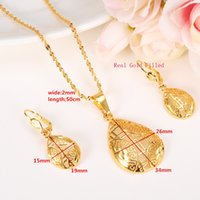 Jewelry sets Elegance Necklace Earrings Fine Real 18k Solid Yellow Gold Girlfriend Sweethearts Daughter Wedding Gifts