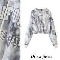2021 Outono design de moda feminina tinta laço-morte letra impressão com capuz manga longa curto colheita superior moletom moletom xssml