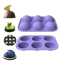 حماية البيئة الكعك جولة شكل كعكة العفن أداة الشوكولاته العفن الصغيرة ستة متتالية شبه الكرات كعك سيليكون قوالب 8 الألوان المتاحة