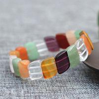 Pulseras de piedra de jades coloridas naturales regalo de la forma de la hoja tallada para las mujeres Joyería de la muchacha con cuentas, hebras