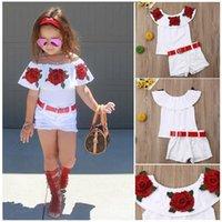 유아 아기 소녀 옷 꽃 떨어져 어깨 껍질 ruffled tops + 데님 찢어진 반바지 2pcs 복장 여름 옷 1894 z2