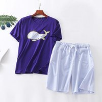 Men's Sleepwear 2021 Lycra Cotton Casual Men Spring Home Clothing Summer Women Pajamas Sets 2pcs Short Sleeve Tops & Pants