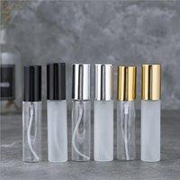 10 ml Mini Mini Atomizador de perfume vacío 1 / 3oz Botellas de vidrio de niebla fina transparente Rocíe la botella de muestra de aroma de fragancia recargable con rociador de oro plateado