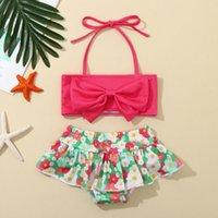 One-Pieces 1-4Y Girl Swimsuit Toddler Baby Kid Girls Sling Floral Print Two-Piece Swimwear Summer Bikini Set Sleeveless Beach Bathing Suit