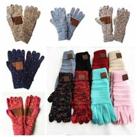 CC Knitting Touch Screen Glove Capacitive Gloves Women Winter Warm Wool Gloves Antiskid Knitted Telefingers Glove 15 colors 10pairs