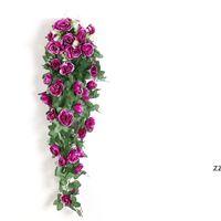 Fleur artificielle Rattan Fake Flowers Fleurs Vin Décoration Wall Suspending Roses Accueil Accessoires Accessoires De Mariage Décoratif de mariage Couronne HWWE8217