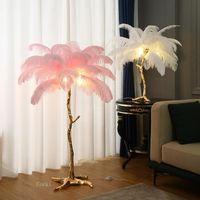 바닥 램프 노르딕 타조 패디 램프 야자수 테이블 조명 인테리어 조명 홈 장식 아트 거실 스탠드 빛 침대 옆