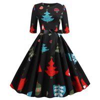 Party Dresses Year Women's Christmas Dress Short Sleeve Knee Length Midi With Bowknot Bandage Cartoon Print Vestido