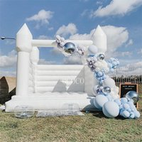 11.6x11.6ft-3.5x3.5m inflatable white jumper house for adults and kids, outdoor bridal wedding bouncy castle