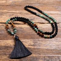 Natural Tiger Eye's Stone 108 Japa Mala Beads Collares para las mujeres Niñas Yoga Japamala Tassel Collar largo Hombres Joyería 8mm