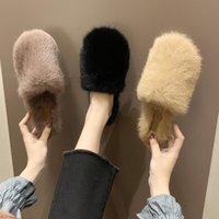 Slippers Shoes Woman 2021 Plush For Adults Luxury Slides Cover Toe Flock Winter Footwear Pantofle Female Mule Fur Designer Flat