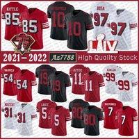 "85 George Kittle 97 Nick Bosa San Football Jersey Francisco 5 Trey Lance Fred Warner Brandon Aiyuk Deebo Samuel Colin Kaepernick Raheem Mostter 49ers ""Javon Kinlaw"