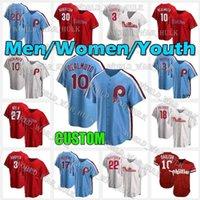 10 JT Realmuto Baseball Jerseys 사용자 정의 필라델피아 2021 Phillies Jersey Bryce 17 Rhys Hoskins Mike Schmidt Harpe Men 여성 청소년 스티치