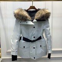 여성용 겨울 다운 재킷 느슨한 허리 모피 칼라 후드가 두꺼운 공구 스타일 파커 반 시즌 XQNM724 14