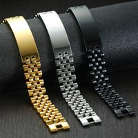 Free Custom Men's Curved Rectangle Blank Message Metal Bar Heavy Bracelet Watchband Jewelry Charm Bracelets
