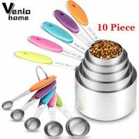 Venlohome 10pcs Set d'acier inoxydable Ensemble de tasses empilables cuillères cuillères pour cuisson cuire des outils de cuisine 210615