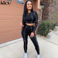 Kliou mulheres fitness dois pedaços conjunto preto manga comprida colheita top branco retalhos listrados retalhos altos cintura legging outfit ativo tracksuit