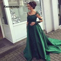 Emerald Green Evening Dress Lace Long Sleeves Prom Gown Chiffon Appliques Women Party Dresses Mother of Bride Vestidos De Fiesta
